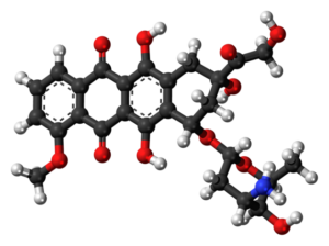 Ball-and-stick model of the doxorubicin molecule, an anti-cancer drug. Colour code: Carbon, C: black Hydrogen, H: white Oxygen, O: red Nitrogen, N: blue