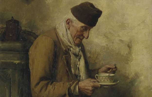 Albert Anker Old Man Drinking Tea