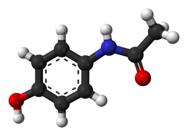 Ball-and-stick model of the paracetamol molecule