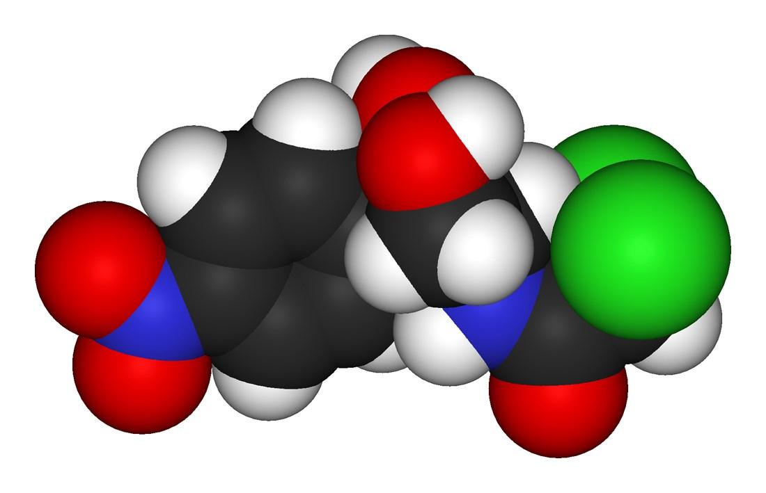 Chloramphenicol-3D-Modell-Antibiotikum