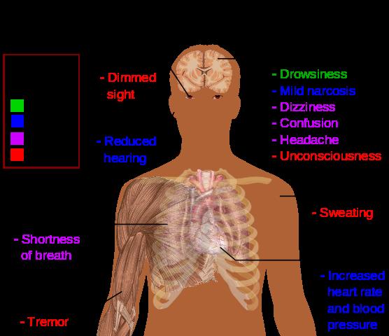 Main symptoms of carbon dioxide toxicity
